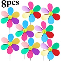 8PCS Kid's Pinwheel Waterproof Colorful Flower Pinwheel Decor Wind Spinner for Outdoor Party Decor