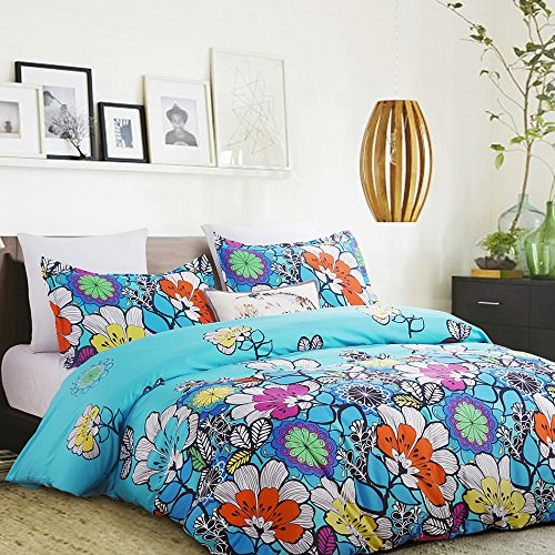 Vaulia Lightweight Microfiber Duvet Cover Set, Colorful Floral Print Pattern, Blue - Queen Size