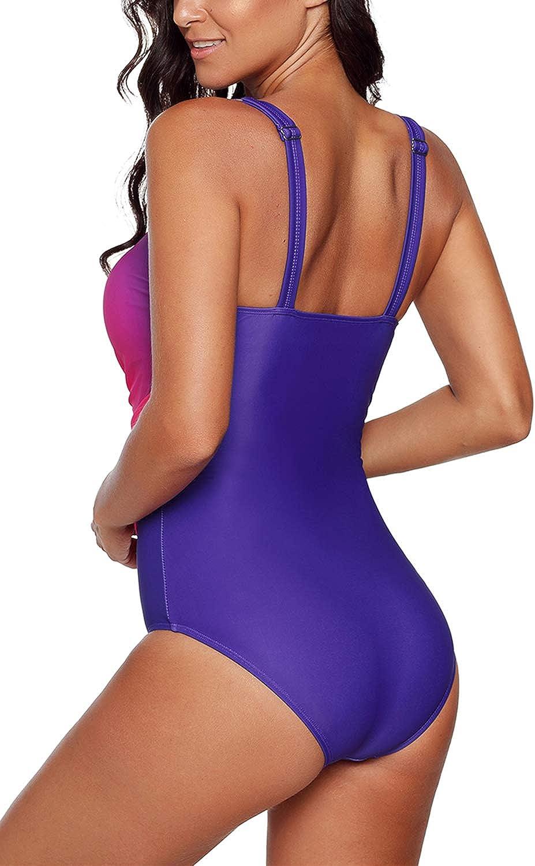 Aleumdr Womens Gradient Color X Back Round Neck One Piece Swimsuits Swimwear