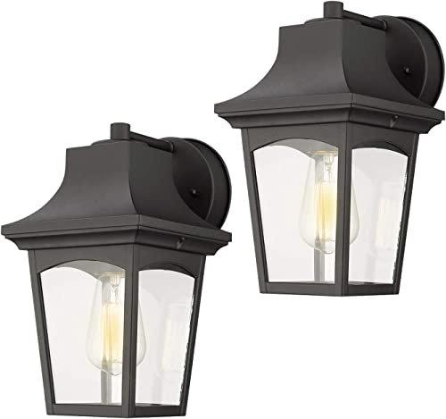 Emliviar Outdoor Wall Lights 2 Pack, Exterior Wall Sconce in Black Finish with Clear Glass Shade, 0406-WD-2PK
