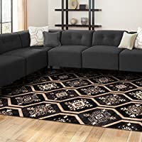 Superior Modern Aurora Collection Area Rug, 10mm Pile Height with Jute Backing, Vintage Kilim-Inspired Pattern, Anti-Static, Water-Repellent Rugs - Black, 5' x 8' Rug