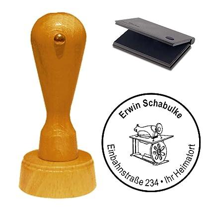 Sello con cojín « Máquina de coser Schneider » sello de ...