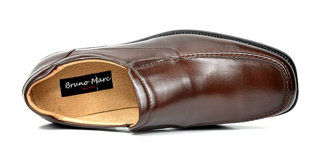 Bruno Marc Mens Leather Lined Square Toe Dress Loafers Shoes