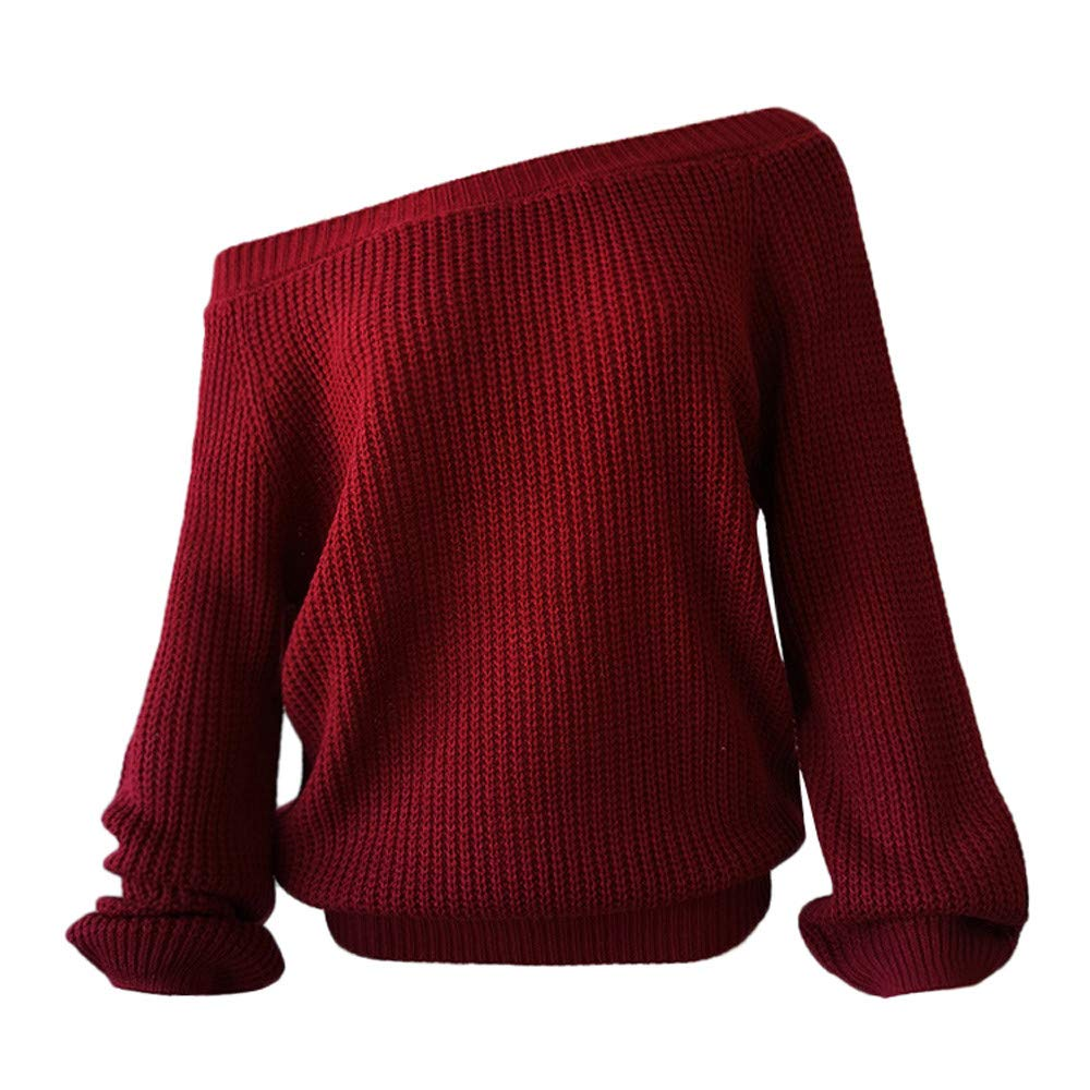 Franterd Women Sexy Off Shoulder Knitted Sweater Loose Warm Long Latern Sleeve Jumper Baggy Pullover Top Blouse by Franterd (Image #6)