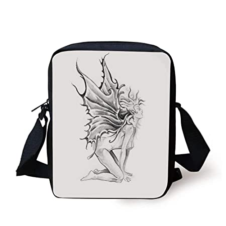 Tattoo Decor,Artistic Pencil Drawing Art Print Nude Fairy Opening its Angel Wings,Black and White Print Kids Crossbody Messen