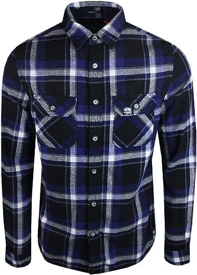 Superdry - Camisa Casual - Básico - Manga Larga - para Hombre Azul ...
