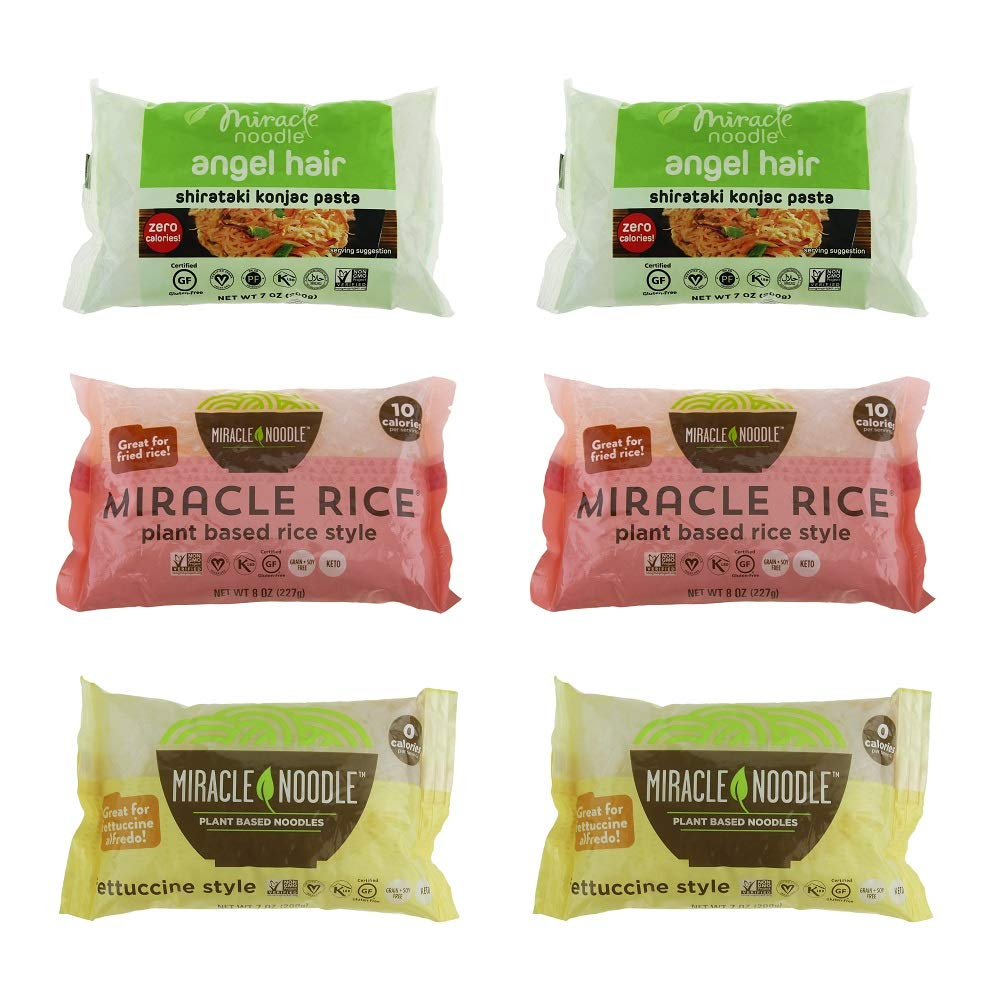Miracle Noodle Shirataki Konjac Pasta and Rice Variety Pack, 7 oz (Pack of 6), Angel Hair, Rice, Fettucine, Zero Net Carbs, Low Calorie, Gluten Free, Soy Free, Keto Friendly by Miracle Noodle