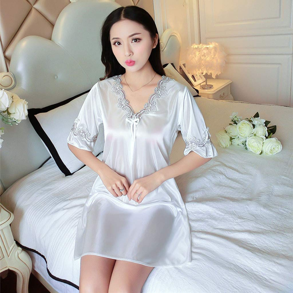 Pervobs Women's Pure Color Short Satin Short Sleeve V-Neck Nightdress Sexy Loose Soft Silk Satin Pajamas Dress Lingerie(Free Size, White) by Pervobs Lingerie & Sleepwear (Image #3)