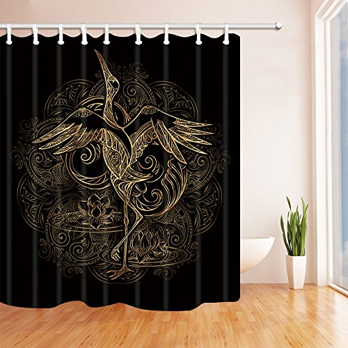 (NYMB Crane Tattoo with Lotus on Background Mandala Bath Curtain, Polyester Fabric Waterproof Shower Curtains, 69X70 in, Shower Curtain Hooks Included, Gold Black (Multi11))