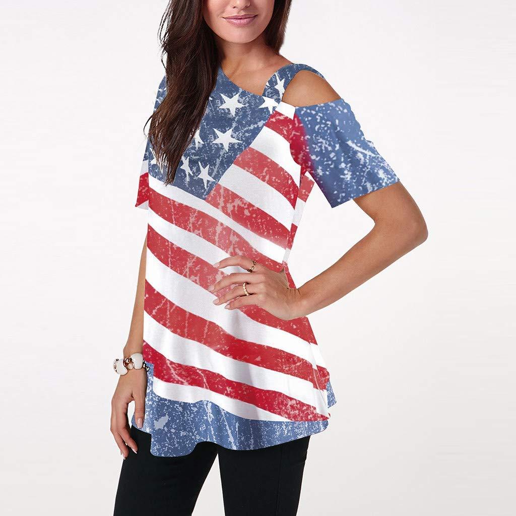 KLHNU Women Blouse Off Shoulder Flag Printed T-Shirt Short Sleeve top