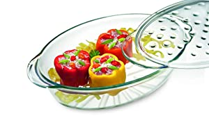 Simax Clear Glass Oval Roaster Pan | With Lid – Raised Ridges for Fat Free Cooking – Durable Borosilicate Glass – Microwave and Dishwasher Safe – Made in Europe – Three Quart Oval Baking Dish