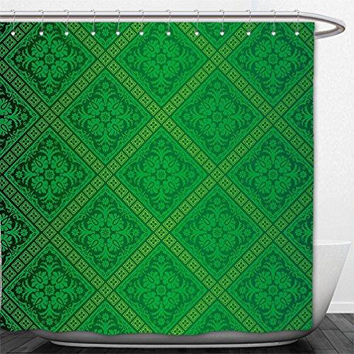 Interestlee Shower Curtain Green Decor Vector Illustration Seamless Pattern of Foliage Wallpaper Decorative Pattern Forest Green (Green Forest Canopy)