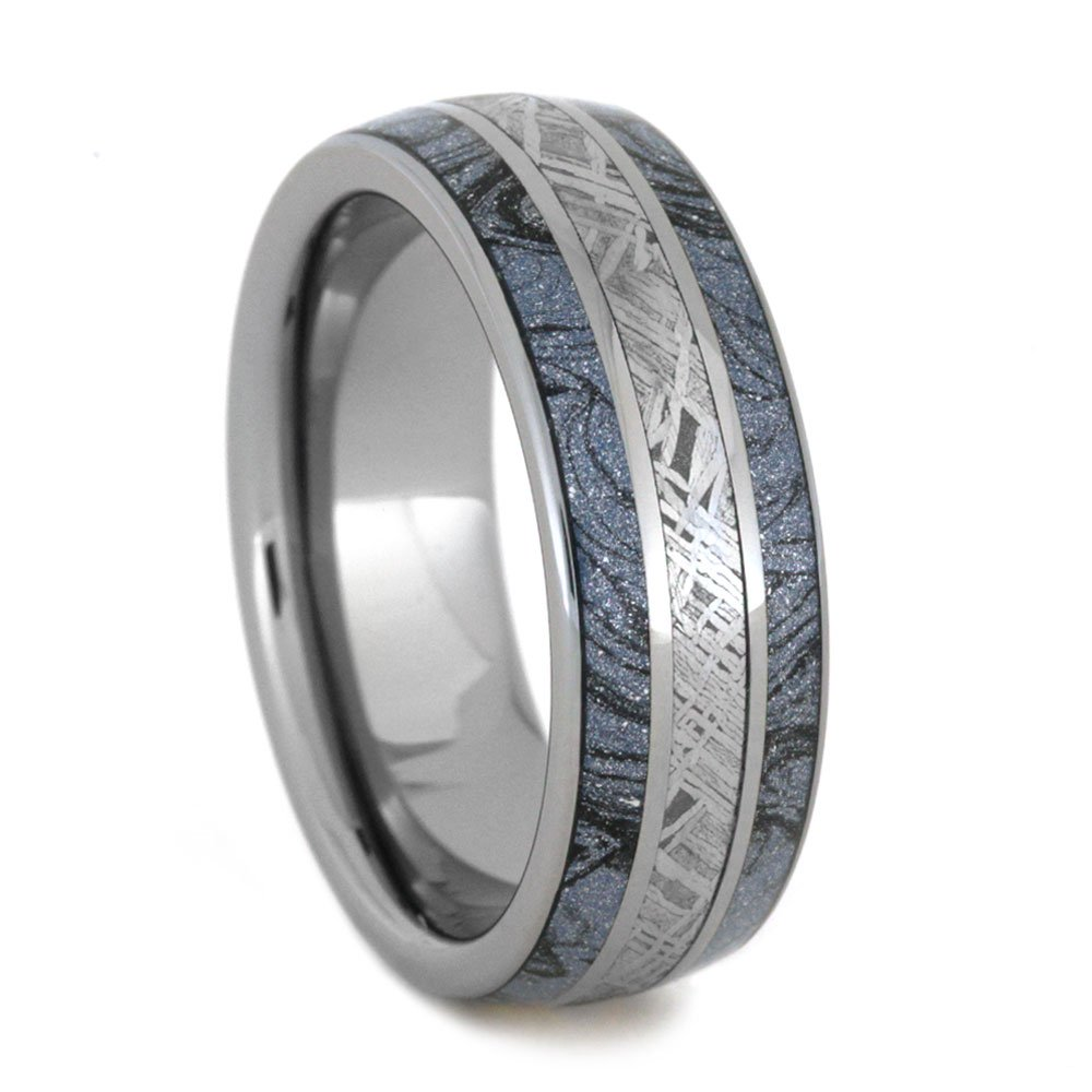 Cobaltium Mokume, Gibeon Meteorite 8mm Comfort-Fit Tungsten Ring, Size 10 by The Men's Jewelry Store (Unisex Jewelry)