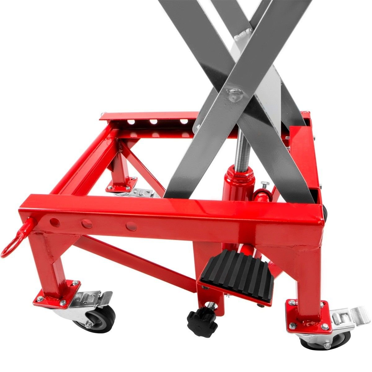 Red XtremepowerUS 300LBS Motorcycle Dirt Bike ATV Motorcycle Bike Scissor Jack Lifts Hoist Mini Crank Hydraulic Foot Operated Lift