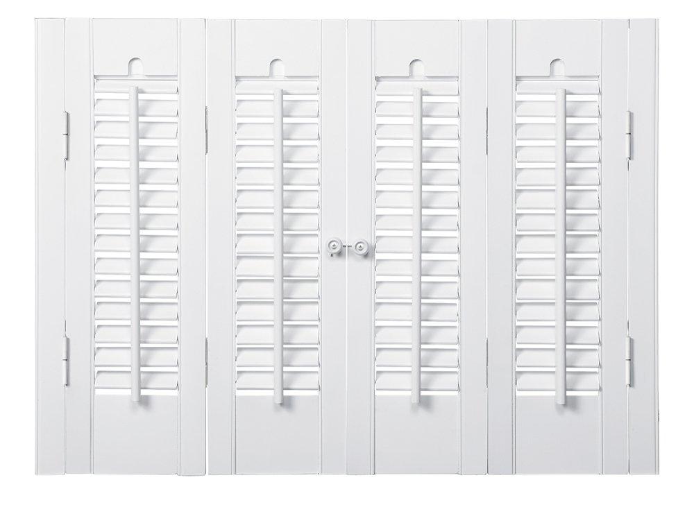 Interior Shutter Kits 1 1/4'' Louver, Bass Wood (Paint Finish-Snow White, 27-29'' W x 24'' H)