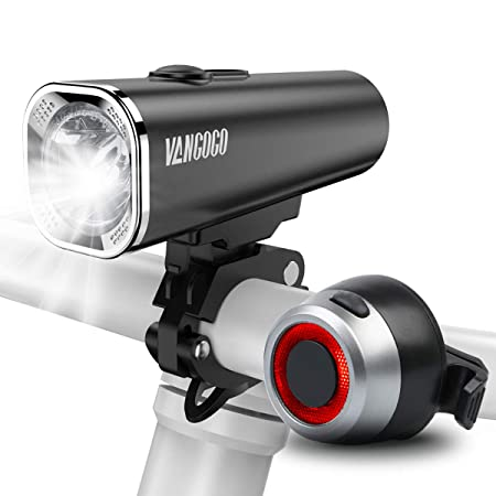 VANGOGO FT1 USB Rechargeable Bike Light Set – Super Bright 500 Lumens LED Bicycle Front Headlight and Back Lights Combo, Free Rear Tail Light for Road Mountain Bikes Cycling Safety Flashlight