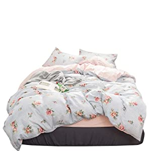 OTOB Cartoon Kids Rose Flowers Duvet Cover Set with 1 Duvet Cover 2 Pillowcases for Grils Children Soft 100% Cotton Reversible Teen Bedding Sets Blue White Floral Bed Set Gift Bedding Collection,Twin
