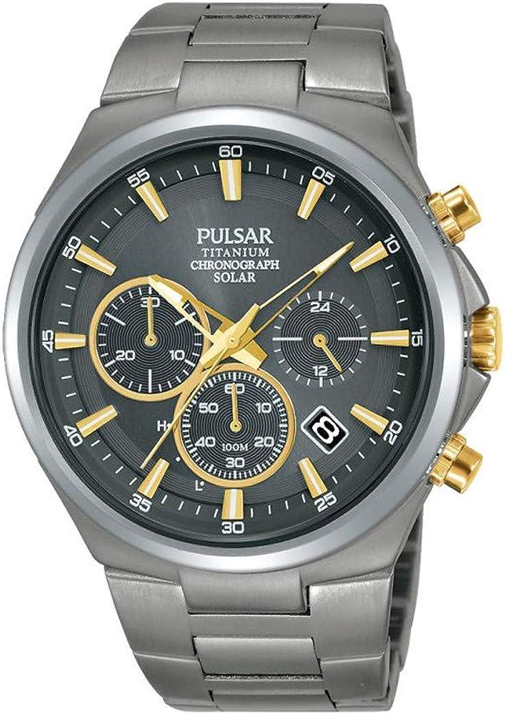 Pulsar - Reloj de titanio para hombre, color plateado