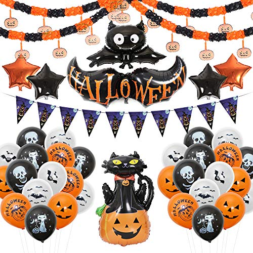 Halloween Balloons Banner Kit[40 Pcs Decorations] Happy Halloween Party Decoration[Include Halloween Banner/Latex Balloons/Paper Garlands/Star, Pumpkin&Bat Inflatable Balloons] for $<!--$12.99-->