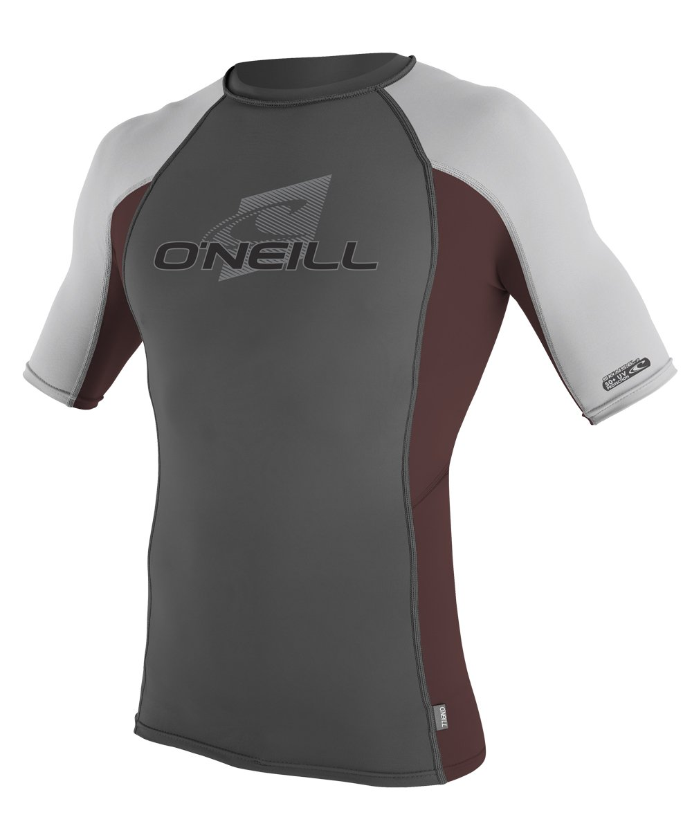 O'Neill Wetsuits O'Neill Men's Premium Skins UPF 50+ Short Sleeve Rash Guard, Graphite/Myers/Lunar, Small by O'Neill Wetsuits