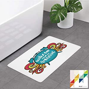 №24722 Bathroom Rug,Saying, Positive Message On Alarm Clock Wake Up and Be, Sky Blue Dark Coral Earth Yellow, Non Slip Coral Velvet Foam Bath Mat,Soft Absorbent Shower Mat Kitchen Rug