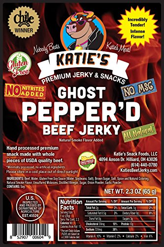 (Ghost Pepper'd Beef Jerky-GLUTEN FREE - No Preservatives, Nitrites, or MSG)
