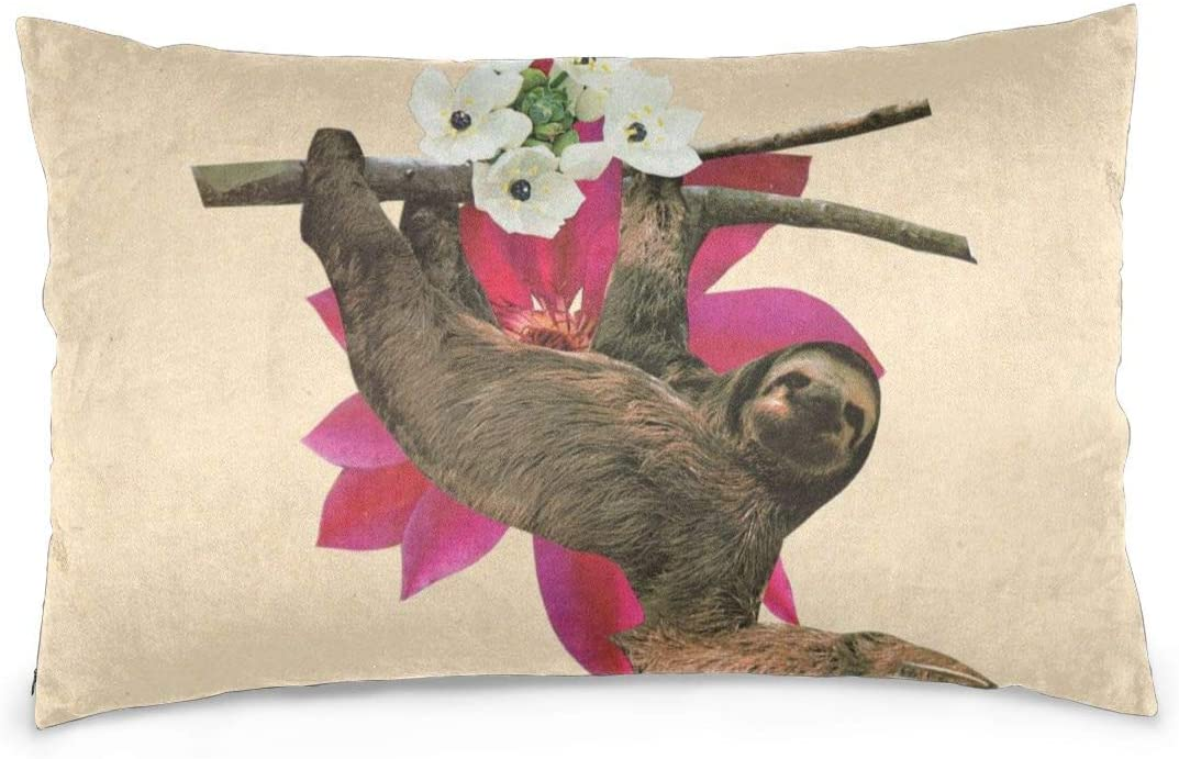 N//A Three Moon Sloth Pillowcases Decorative Pillow Covers Soft and Cozy Standard Size 20x30 with Hidden Zipper