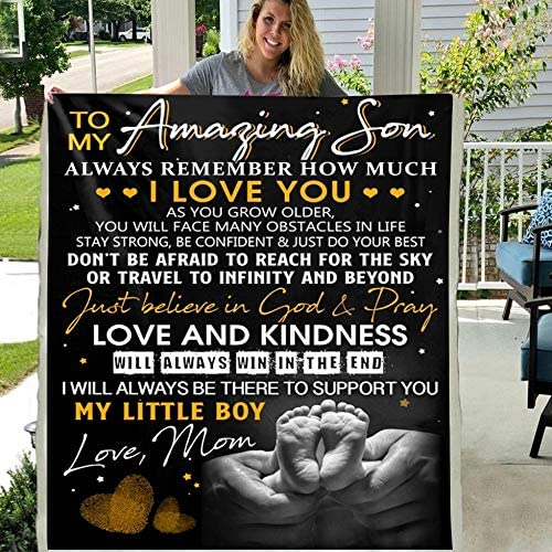 I Will Always Love Fleece Details about  /To My Son My Black Boy Quilt Blanket Printing in US