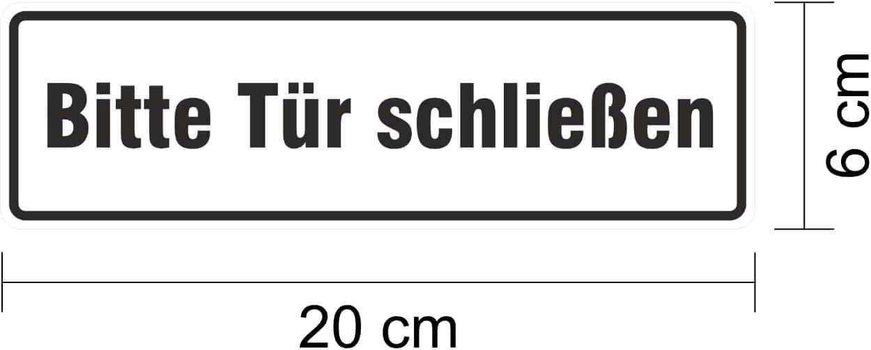 Warnaufkleber Bitte T/ür schlie/ßen 20 x 6 cm Aufkleber