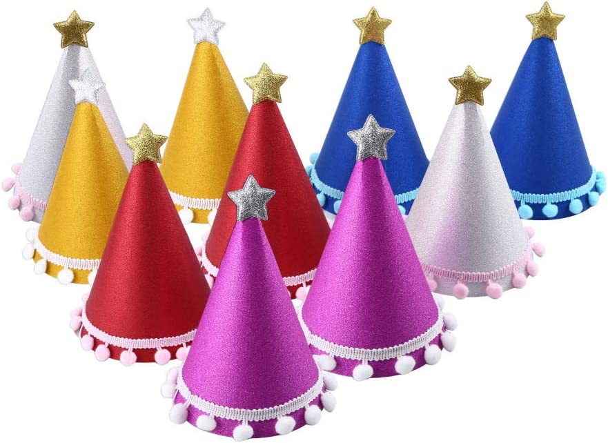 C CRYSTAL LEMON Pack of 10, Party Hats, Birthday hat for Adults and Kids (Universal, Multicolor): Clothing