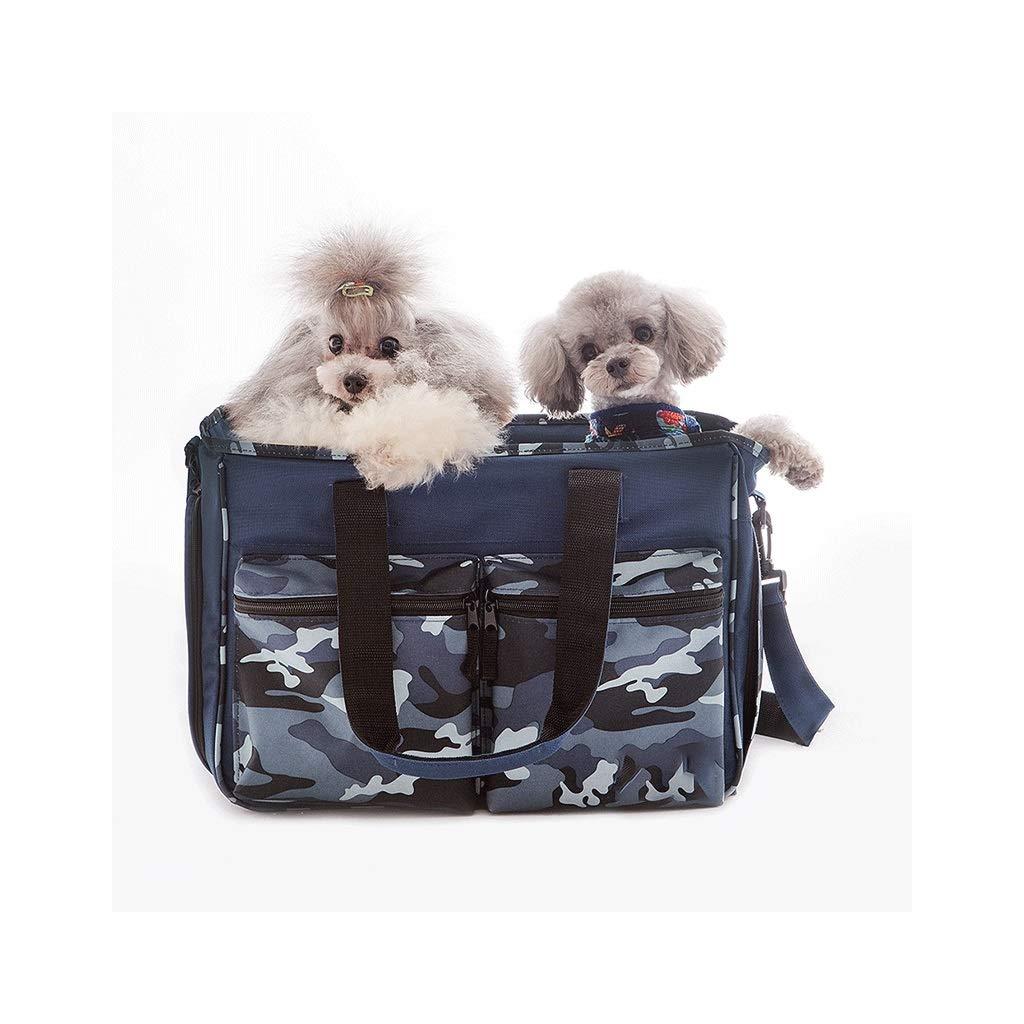 bluee FJH Portable pet bag cat bag out portable travel backpack dog bag shoulder Messenger bag cat supplies (color   bluee)