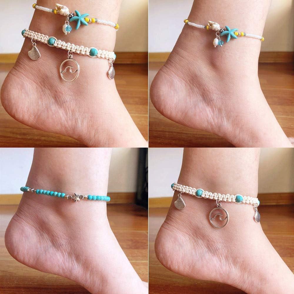Studio 21 Graphix 3Pcs Adjustable Boho Anklets Set Hawaii Charm Ankle Bracelets Handmade Braided String Bracelets Multilayer Ocean Wave Beach Foot Jewelry for Women Girls Teens