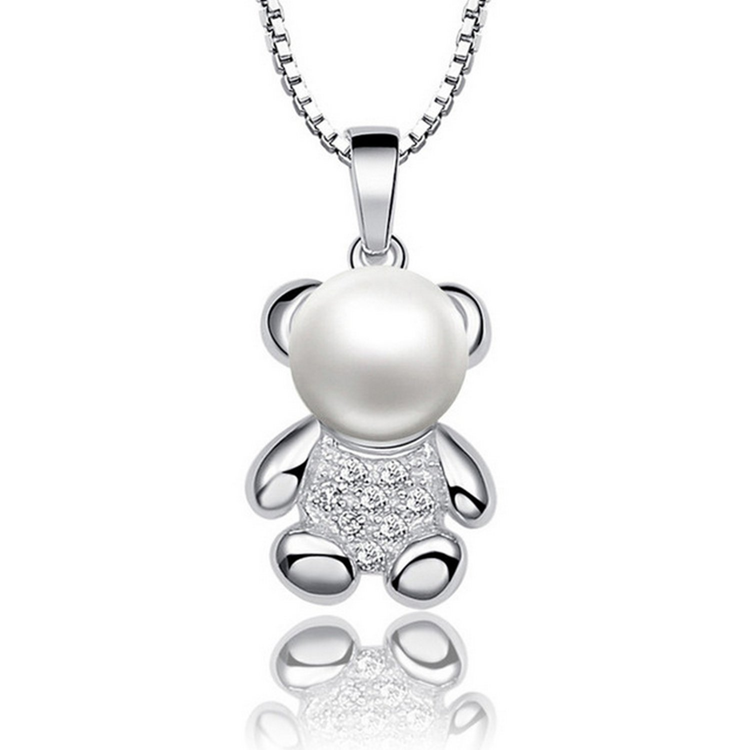 CS-DB Jewelry Silver Choker Lovely Bear Design Chain Charm Pendants Necklaces