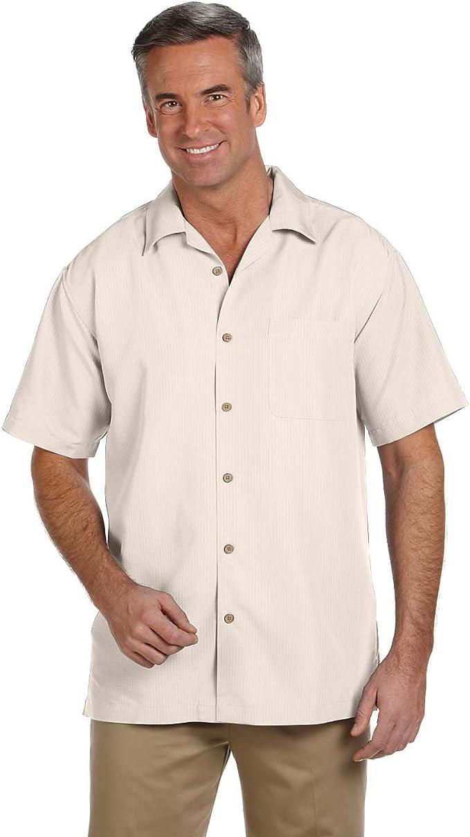 Mens Harriton Textured Wrinkle Resistant Camp Short Sleeve Shirt For C6 Corvette