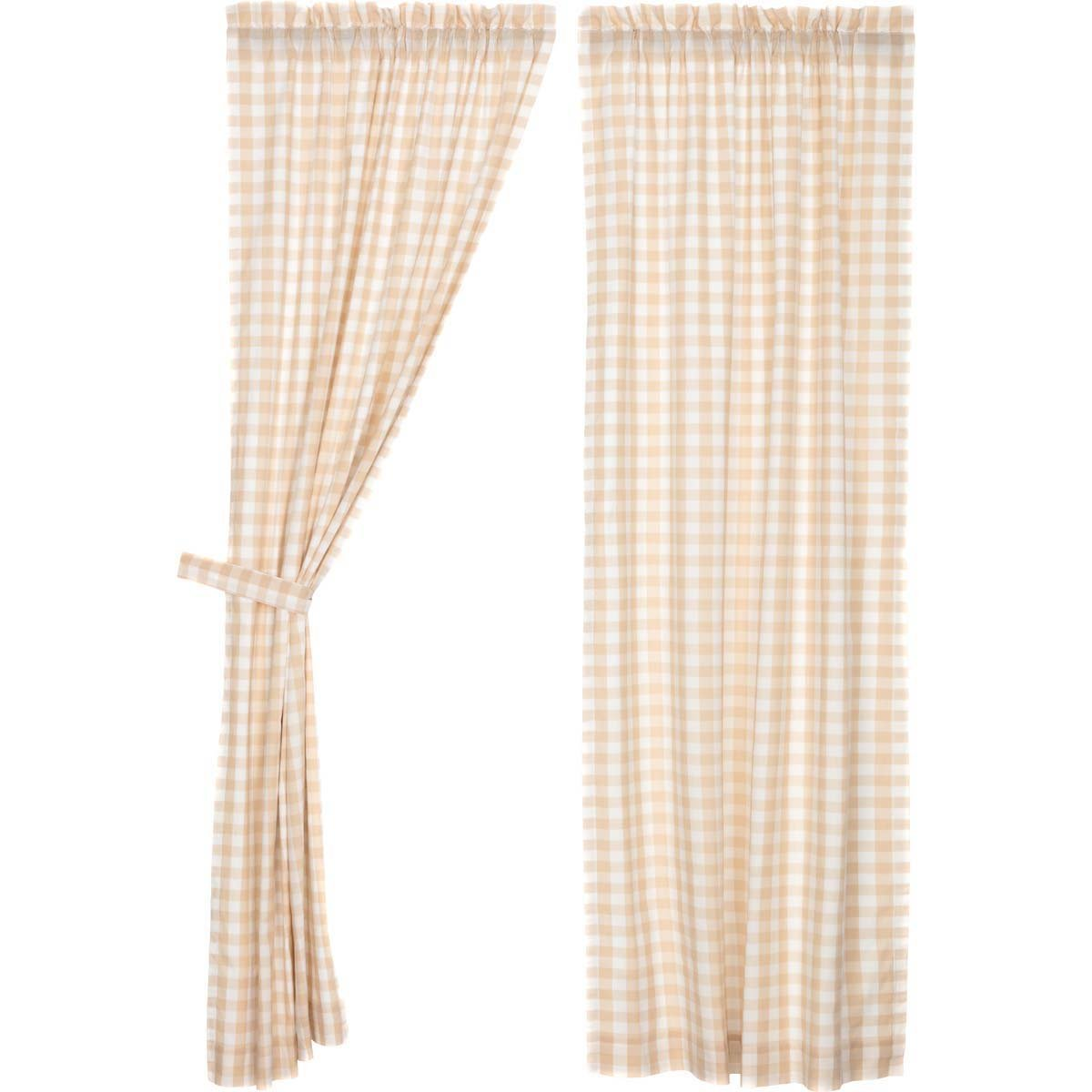 VHC Brands Farmhouse Window Curtains-Annie Buffalo Check White Lined Panel Pair, Grey 40458