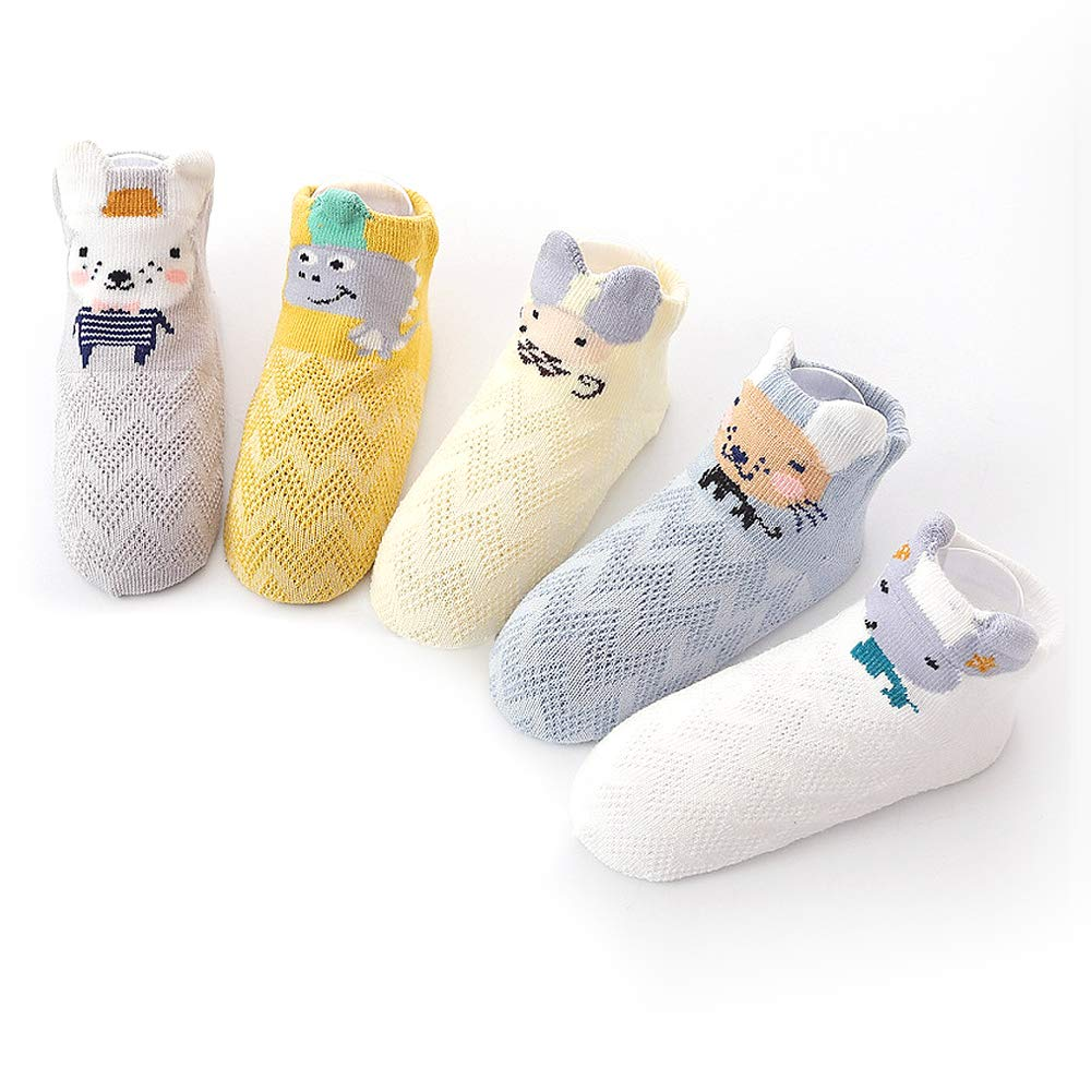 Honey.B Cotton Animal Character Socks - 5 Pairs of Soft Cotton Blends Kid's Casual Fashion Cute Fun Multi Unique Design and Color Comfortable Crew Socks for Little Girls,Boys - 02-MEDIUM