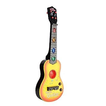 YAKOK 4 Cuerdas Guitarra Electrica Niños Guitarra Bebe Juguete para Niños y Niñas 3-5 años (Amarillo): Amazon.es: Juguetes y juegos