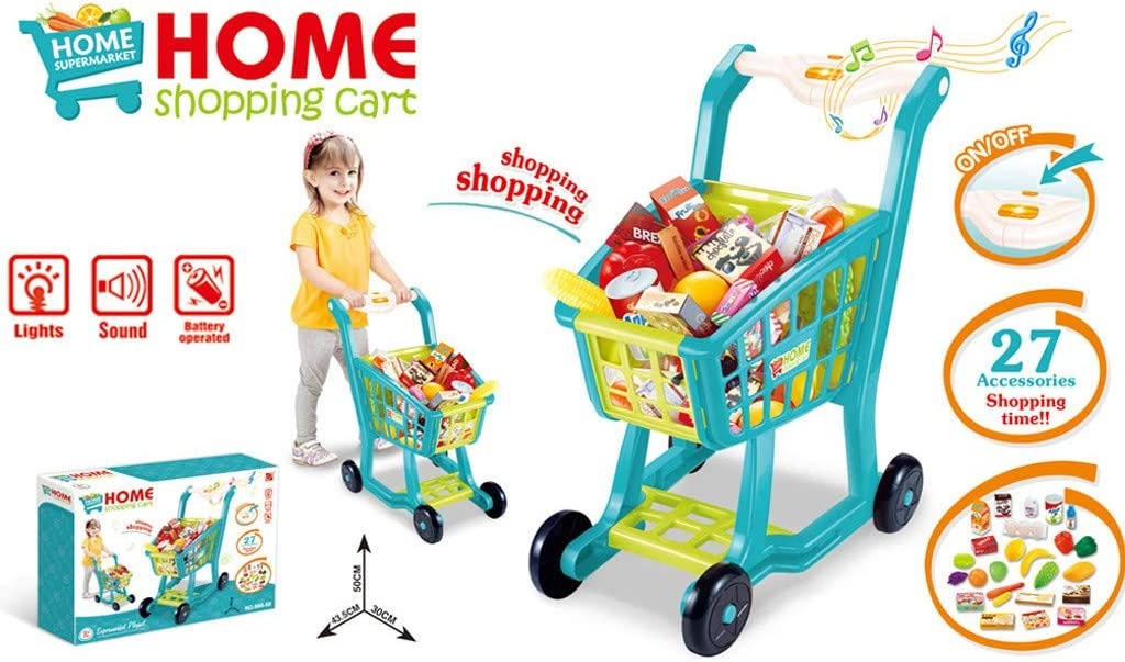 Pretend Play Kids Grocery Carts,Childrens Fruit Music and Vegetable Toy Set,Pretending Toys Groceries,Play Kids Grocery Carts Educational Learning Toy Shopping Cart Toy Blue