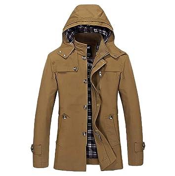 OHQ Abrigo Chaqueta Hombre Invierno Sudadera Manga Larga Capucha Casual CáLido Jacket Overcoat Outwear Slim Trench Cremallera Botones Abrigo: Amazon.es: ...