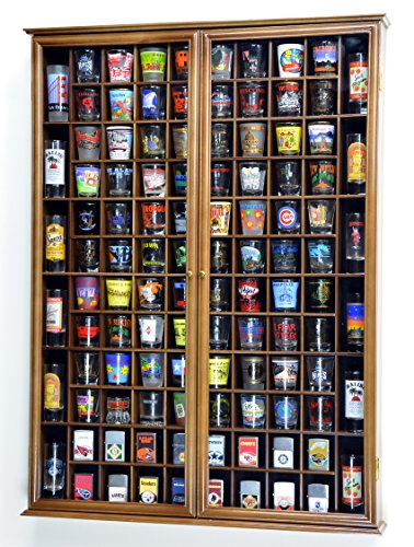 108 Shot Glass Shooter Display Case Holder Cabinet Wall Rack w/ UV Protection -Walnut by sfDisplay.com, Factory Direct Display Cases