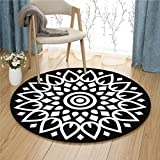 Black and white lotus pattern round carpet living room floor mats computer chair pad study basket mat ( Color : Black , Size : 140 cm diameter )