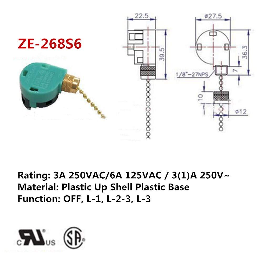 2PCS Ceiling Fan Switch Pull Chain Control ZE-268S6 ZE-208S6 3 Speed 4 wire Speed Control Switch Ceiling Fan Replacement Speed Control Switch (Nickel) by Aoprofree (Image #3)