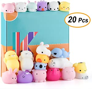 KUUQA 20 Pcs Animal Mochi Squishies Toys Cat Rabbit Panda Squishies Squeeze Stress Relief Balls Toys Easter Egg Fillers Toys for Kids Birthday Party Supplies
