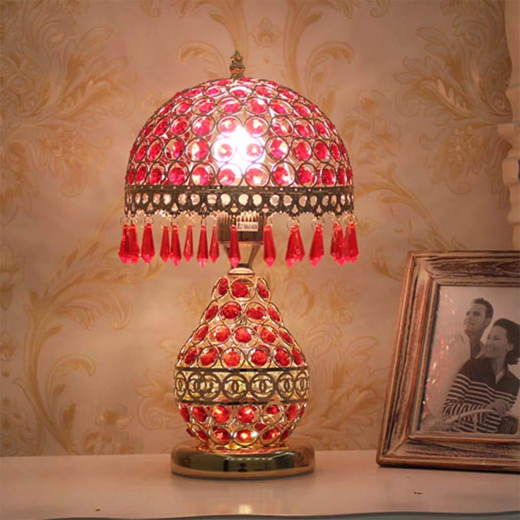 Hty Td Tischlampe Schlafzimmer Nachttischlampe, Europäische Kristall Licht Luxus Tischlampe Hochzeit Lampe Moderne Einfache Warm Warmes Licht Fernbedienung (Farbe   C, Größe   Fernbedienungsschalter)