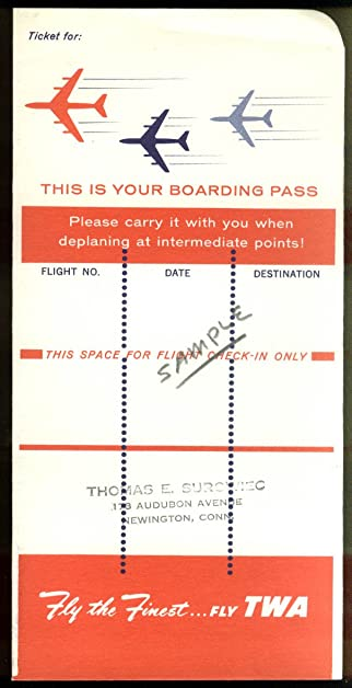 TWA Trans World Airlines Boarding Pass Airline Ticket Wrapper 1960s Says SAMPLE