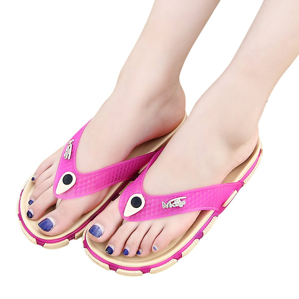 Unisex Flip Flop Sandals Summer Beach Slide Flat Slippers Comfortable Flip Flops for Women Men (US 7-7.5M, Pink)