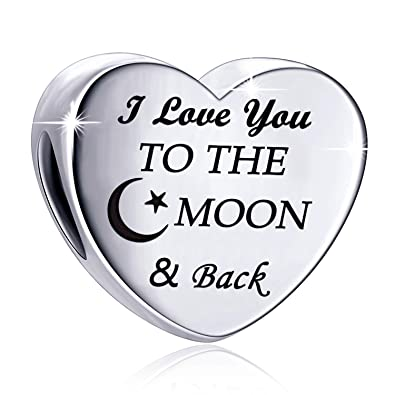 c062f651c Charm Fit Pandora Charms Bracelet I Love You to The Moon and Back Love  Heart Charms