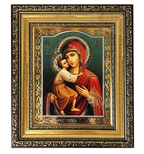 Madonna and Child Christ Framed Russian Icon Jeweled Glass Wood Catholic Orthodox Icon 8 1/4 Inch