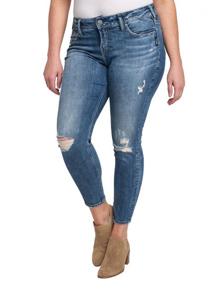 Silver Jeans Women's Plus Size Suki Mid-Rise Ankle Skinny Jeans, Destructed Medium Light Wash, 20X27