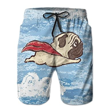 968cef9ad9 HHNYL Super Hero Pug Swim Trunks Board Shorts Quick Dry Beachwear Bathing  Suits for Men